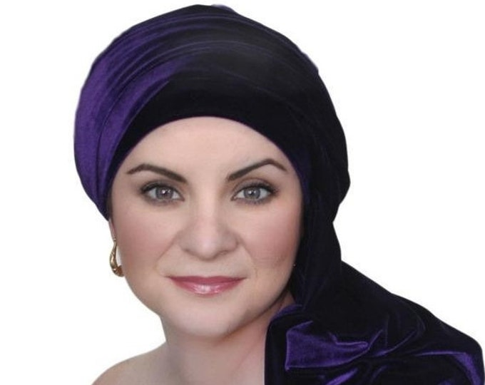 RETIREMENT SALE Turban Diva Purple Velvet Turban, Head Wrap, Chemo Hat, One Piece Wrap, Fitted Turban