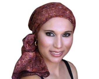 RETIREMENT SALE Save 50% Rust Floral Batik Turban Hat Chemo Hat Head Wrap Alopecia Scarf Boho, Rust Cinnamon, Hat & Scarf Set