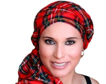 RETIREMENT SALE Turban Diva Red Plaid Turban Chemo Head Wrap Scarf, One Piece Wrap, Fitted Turban
