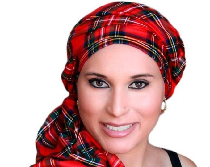 RETIREMENT SALE Turban Diva Red Plaid Turban Chemo Head Wrap Scarf, One Piece Wrap, Fitted Turban