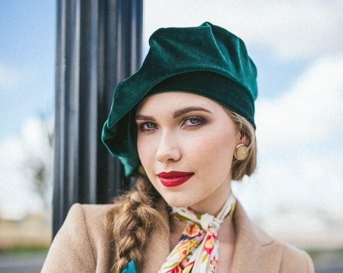 RETIREMENT SALE Oversize 13 inch Beret, Green Emerald Velvet Beret, Chemo Hat, French Beret, Large Beret, Slouchy Hat