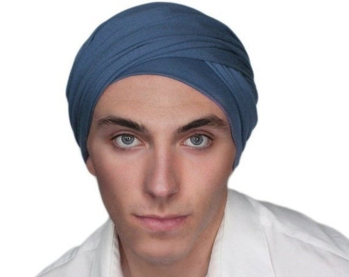 RETIREMENT SALE Men's Turban, Man's Head Wrap, Dreads Wrap, Ski Hat, Motorcycle Scarf, Man's Smoky Denim Blue Turban, Tactical Scarf 400-17