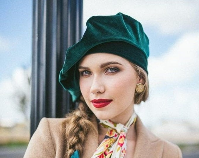 RETIREMENT SALE Save 50% Oversize 13 inch Beret, Green Emerald Velvet Beret, Chemo Hat, French Beret, Large Beret, Slouchy Hat