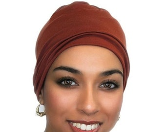 RETIREMENT SALE Rust Chemo Hat, Sleep Hat, Alopecia Cap, Scarf Liner, Slouch Hat, Pretied Turban, Modal Knit, 299-32