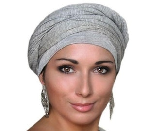 RETIREMENT SALE Save 50% Light Gray Turban, Head Wrap, Chemo Hat, One Piece Fitted, Jersey Knit Head Wrap