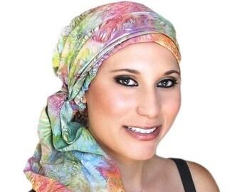 RETIREMENT SALE Save 50% Turban Diva Pastel Floral Fashion Turban Scarf Chemo Hat Alopecia Head Wrap, Hat & Scarf Set