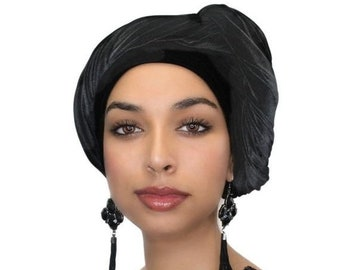 RETIREMENT SALE Save 50% Turban Diva Black Velvet Turban, Head Wrap, Chemo Hat, Alopecia ScarfOne Piece Fitted 332-03