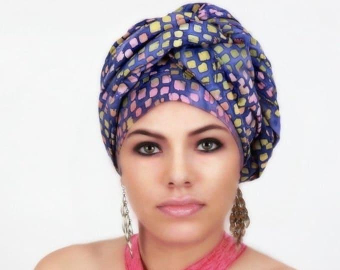 RETIREMENT SALE Save 50% Purple Raindrop Turban Dreads Wrap, Head Wrap, Alopecia Scarf, Chemo Hat, Boho Gypsy Tribal, One Piece Wrap, Cotton