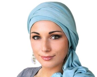 RETIREMENT SALE Save 50% Dusk Blue, Light Blue Turban Dreads Wrap, Head Wrap, Alopecia Scarf, Chemo Hat, Boho Gypsy Tribal, One Piece Fitted