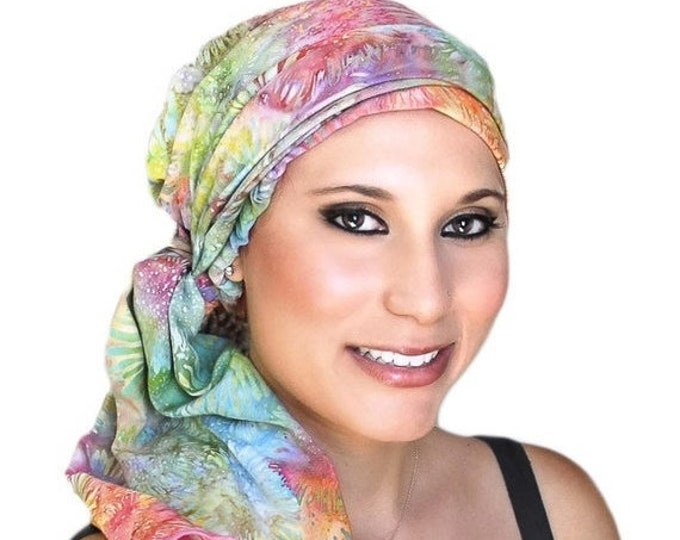 RETIREMENT SALE Turban Diva Pastel Floral Fashion Turban Scarf Chemo Hat Alopecia Head Wrap, Hat & Scarf Set