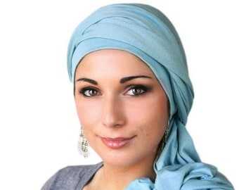 RETIREMENT SALE Dusk Blue, Light Blue Turban Dreads Wrap, Head Wrap, Alopecia Scarf, Chemo Hat, Boho Gypsy Tribal, One Piece Fitted Wrap, Je