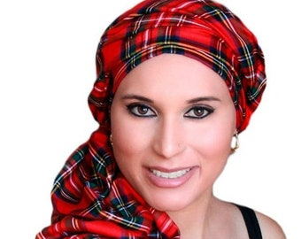 RETIREMENT SALE Save 50% Turban Diva Red Plaid Turban Chemo Head Wrap Scarf, One Piece Wrap, Fitted Turban