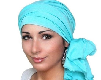 RETIREMENT SALE Light Turquoise Teal Gauze Chemo Turban Hat Set, Cotton Head Wrap , Chemo Hat, Cancer Hat & Scarf Set