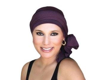 RETIREMENT SALE Turban Diva Plum Turban, Purple Turban, Chemo Hat, Head Wrap, Alopecia Head Scarf, Jersey Knit Hat & Scarf Set, Gift for Her