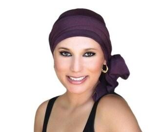 RETIREMENT SALE Save 50% Turban Diva Plum Turban, Purple Turban, Chemo Hat, Head Wrap, Alopecia Head Scarf, Jersey Knit Hat & Scarf Set, Gif
