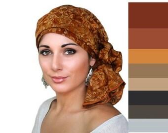 Rust Floral Batik Turban Hat Chemo Hat Head Wrap Alopecia Scarf Boho, Rust Cinnamon, Hat & Scarf Set