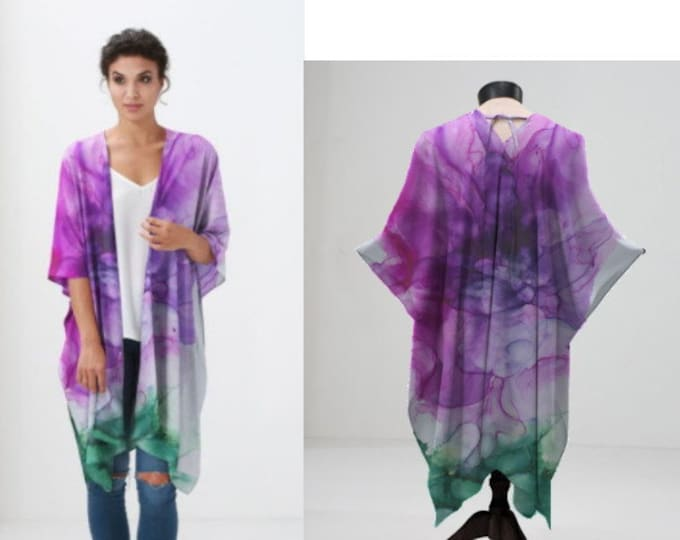 Sheer Kimono, Chiffon Wrap, Cover Up, Fuchsia Blossom Pattern, Amethyst, Purple, Pink, White, Green