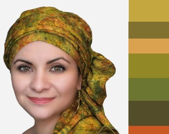 Olive Floral Chemo Turban Hat Set, Batik Head Wrap Alopecia Scarf, Chemo Hat, Cancer Hat & Scarf Set
