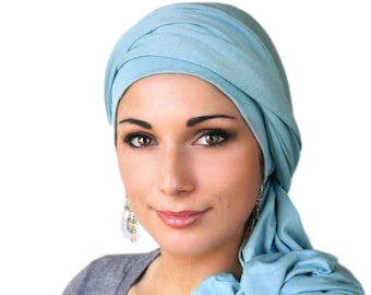 Turban Diva Light Blue Turban Head Wrap Chemo Hat Alopecia Scarf, One Piece Fitted Wrap, Jersey Knit