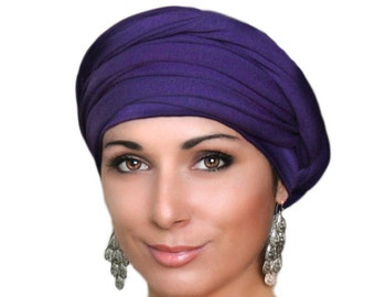 Turban Diva Purple Turban, Head Wrap Alopecia Head Scarf Chemo Hat, Jersey knit Hat & Scarf Set