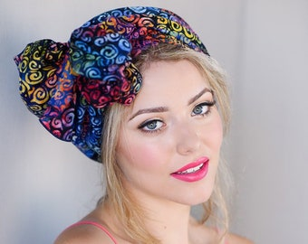 Turban Diva Rainbow Swirl Turban Chemo Hat, Head Wrap Alopecia Scarf Batik Boho, Chemo Turban, Red Blue Purple Hat & Scarf Set