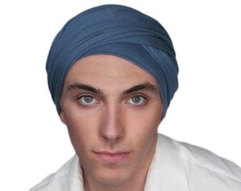Men's Turban, Man's Head Wrap, Dreads Wrap, Ski Hat, Motorcycle Scarf, Man's Smoky Denim Blue Turban, Tactical Scarf 400-17