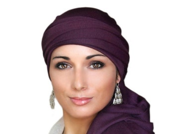 Turban Diva Plum Turban, Purple Turban, Jersey Knit Head Wrap, Chemo Hat, Alopecia Scarf, Hijab, One Piece Wrap