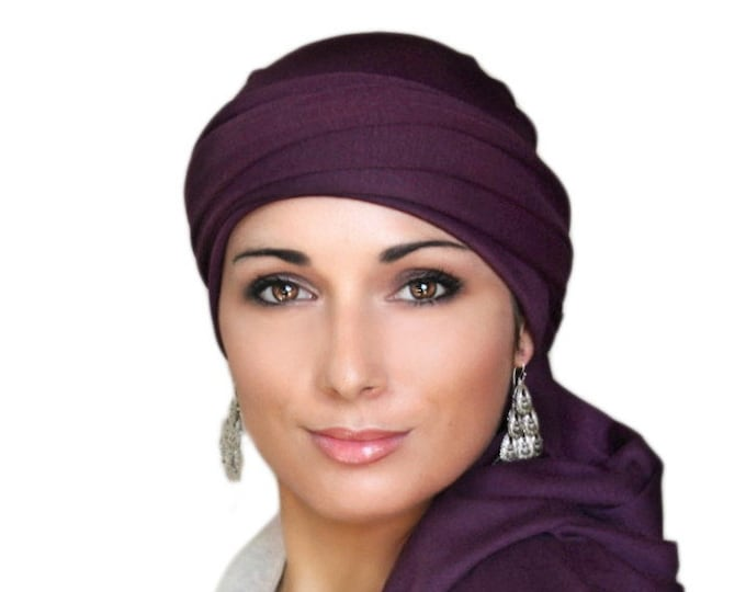 Turban Diva Plum Turban, Purple Turban, Jersey Knit Head Wrap, Chemo Hat, Alopecia ScarfOne Piece Wrap