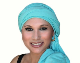 Turban Dreads Aqua Head Wrap, Alopecia Scarf Chemo Hat, One Piece Fitted Wrap