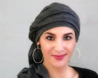 Charcoal Gray Turban, Chemo Hat, Head Wrap, Alopecia Scarf, Dreads wrap, Hijab, One Piece Fitted, Jersey knit,