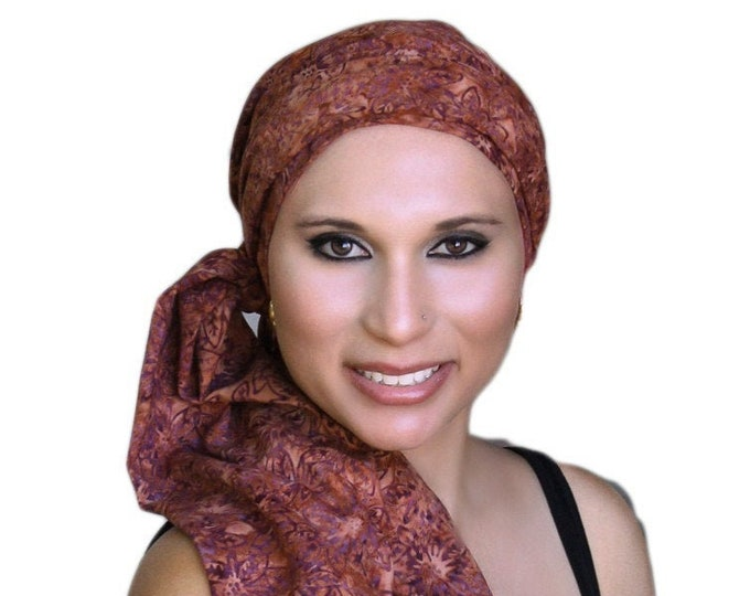 RETIREMENT SALE Rust Floral Batik Turban Hat Chemo Hat Head Wrap Alopecia Scarf Boho, Rust Cinnamon, Hat & Scarf Set