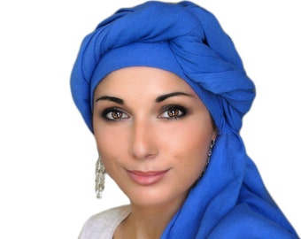 Royal Blue Cotton Turban,Head Wrap, Chemo Hat, Head Wrap, Cotton Gauze Turban, Alopecia Scarf, Hijab, Boho, Gypsy, One Piece Fitted Wrap