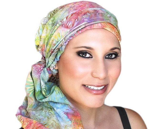 RETIREMENT SALE Turban Diva Pastel Floral Fashion Turban Scarf Chemo Hat Alopecia Head Wrap, Hat & Scarf Set