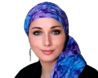 Turban Diva Purple Lavender Blue Turban Hat Set, Batik Head Wrap Alopecia Scarf, Chemo Hat, Hat & Scarf Set