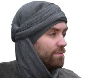 Men's Turban, Man's Head Wrap, Dreads Wrap, Ski Hat, Motorcycle Scarf, Man's Charcoal Gray Turban, Tactical Scarf