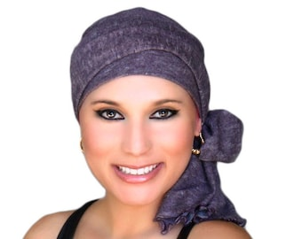 Turban Diva Plum Heather Turban, Purple Turban, Eggplant Turban Head Wrap Alopecia Head Scarf Chemo Hat, Hat & Scarf Set