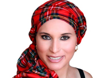 Turban Diva Red Plaid Turban Chemo Head Wrap Alopecia Scarf, One Piece Fitted Wrap