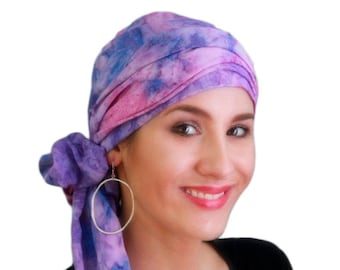 Turban Diva Purple Lavender Pink Turban Hat Set, Head Wrap Alopecia Scarf, Chemo Hat, Hat & Scarf Set