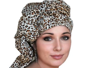 Leopard Cotton Turban Dreads Wrap, Head Wrap, Alopecia Scarf, Chemo Hat, Boho Gypsy Tribal, One Piece Wrap