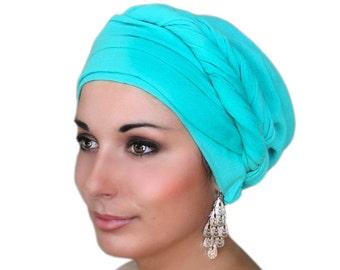 Turban Diva Turban DivaTurban, Head Wrap, Chemo Hat, Alopecia Scarf, Jade Cotton Gauze, Turquoise Turban, Hat & Scarf Set