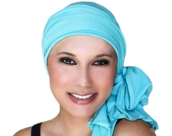 Turban Diva Aqua Turban, Turquoise Head Wrap Alopecia Chemo Hat, Cancer Hat, Head Scarf Jersey Knit, Hat & Scarf Set 78-03 Gift for Her
