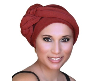 Rust Turban, TerraCotta Turban, Head Wrap, Chemo Hat, Alopecia Scarf, Hijab, One Piece Fitted Wrap, Jersey Knit