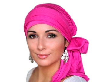 Turban Diva Hot Pink Fuchsia Magenta Head Wrap Chemo Hat Turban Alopecia Scarf, Hat & Scarf Set  Gift for Her