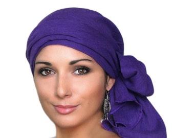 Turban Diva Purple Cotton Turban, Head Wrap Chemo Hat, Alopecia Scarf, Cotton Gauze, Hat & Scarf Set