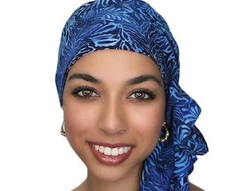 Turban Diva Turban  Chemo Hat  Head Wrap  Alopecia Scarf   Batik Boho, Chemo Turban, Hat & Scarf Set Blue White Fern 103-54