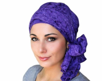 Turban Diva Purple Craze Turban, Chemo Hat,Head Wrap, Alopecia Scarf, Batik Boho, Chemo Turban, Hat & Scarf Set