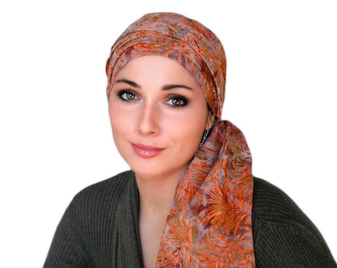 RETIREMENT SALE Rust Leaves Batik Turban Hat Chemo Hat Head Wrap Alopecia Scarf Boho, Rust Cinnamon, Hat & Scarf Set