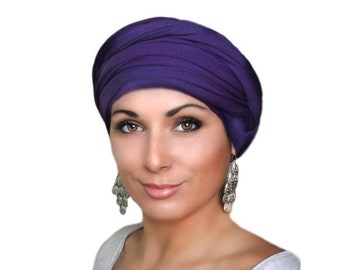 Turban Diva Purple Turban, Head Wrap Alopecia Head Scarf Chemo Hat, Jersey knit Hat & Scarf Set