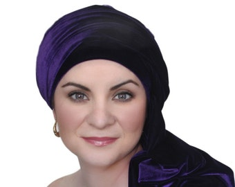 Turban Diva Purple Velvet Turban, Head Wrap, Chemo Hat, Alopecia Scarf, Hijab, One Piece Wrap