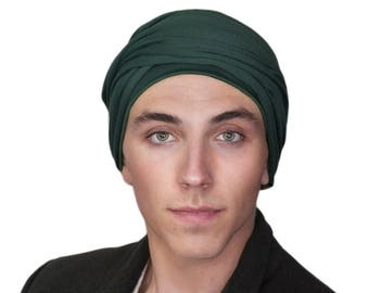 Men's Turban, Man's Head Wrap, Dreads Wrap, Ski Hat, Motorcycle Scarf, Man's Green Turban, Forest Green, Dark Green Turban, Tactical Scarf